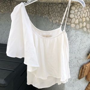 7FAM White One Shoulder Top